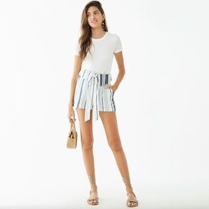Forever 21 Striped Linen Paperbag Shorts NWT